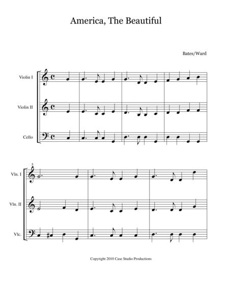 Patriotic Hymns For String Trio - 2 violins and cello