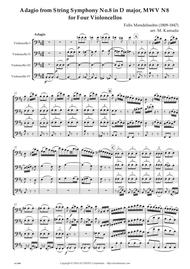 Adagio from String Symphony No.8 in D major, MWV N8 for Four Violoncellos