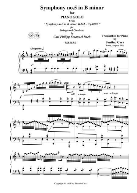Bach C.P.E. Symphony No.5 in B minor  - Piano version