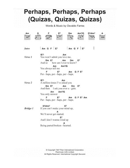 Perhaps, Perhaps, Perhaps (Quizas, Quizas, Quizas) (theme from Coupling)