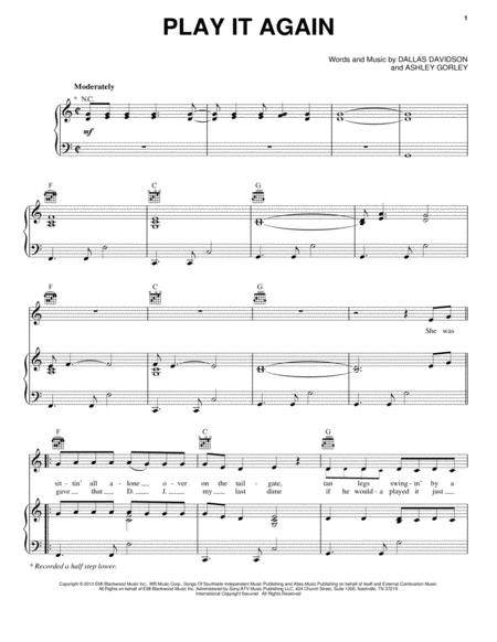 Download Play It Again Sheet Music By Luke Bryan - Sheet Music Plus