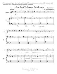 Christmas Duets for Clarinet & Piano:  God Rest Ye Merry, Gentlemen