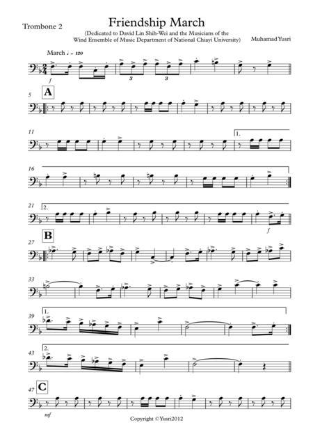 Friendship March (Trombone 2 Part)