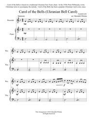 Christmas Duets for Alto Saxophone & Piano:  Carol of the Bells (Ukranian Bell Carol)