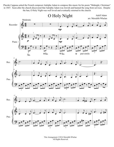Christmas Duets for Recorder & Piano:  O Holy Night