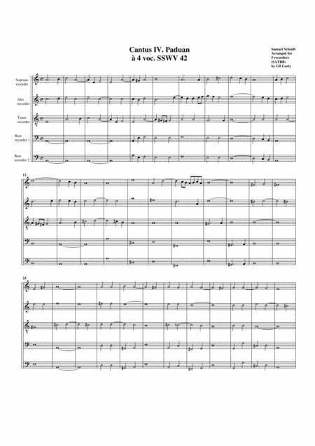 Paduan no.4 SSWV 42 (arrangement for 5 recorders)