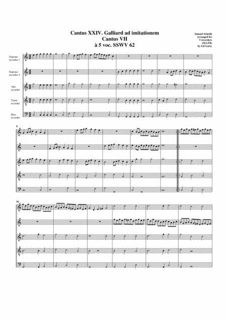 Galliard ad imitationem Cantus VII SSWV 62 (arrangement for 5 recorders)