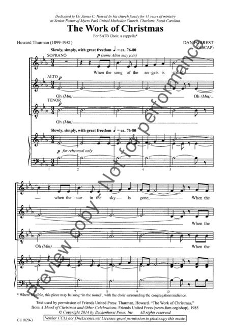 Work Of Christmas By Dan Forrest Octavo Sheet Music For Satb Choir A Cappella Buy Print Music Bp Cu1029 Sheet Music Plus