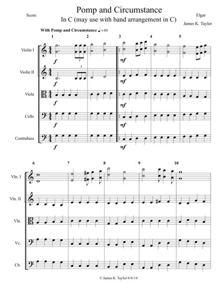 Pomp and Circumstance (String Orchestra parts optional use with band arrangement in C)