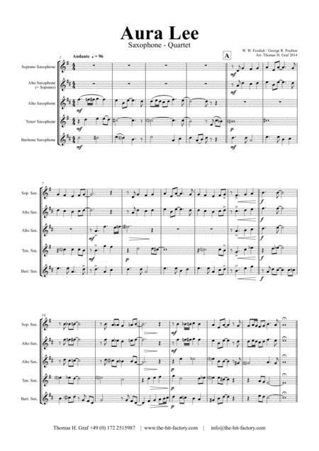 Aura Lee - Love me tender - Elvis - Saxophone Quartet