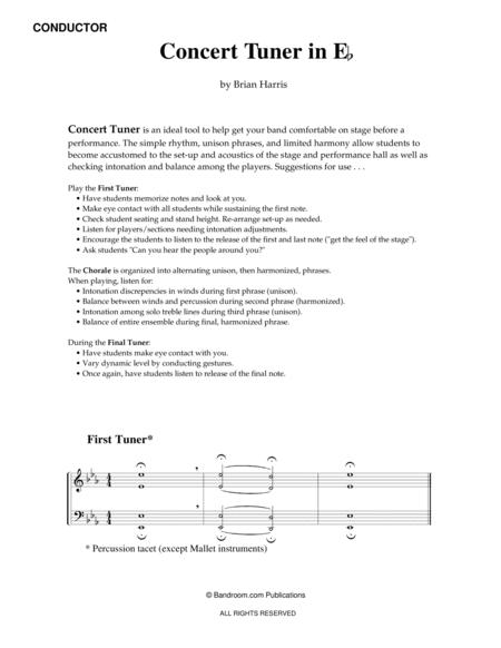 CONCERT TUNER IN E-FLAT (young concert band warm up; very easy; score & parts)