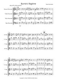 Burnie's Ragtime for Recorder Quartet