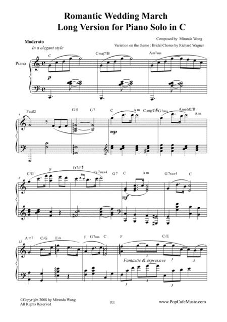 Romantic Wedding March by Miranda Wong - Long Version for Piano Solo in C Key