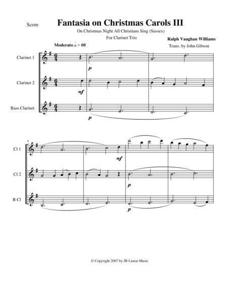 Vaughan Williams - Fantasia on Christmas Carols III for clarinet trio