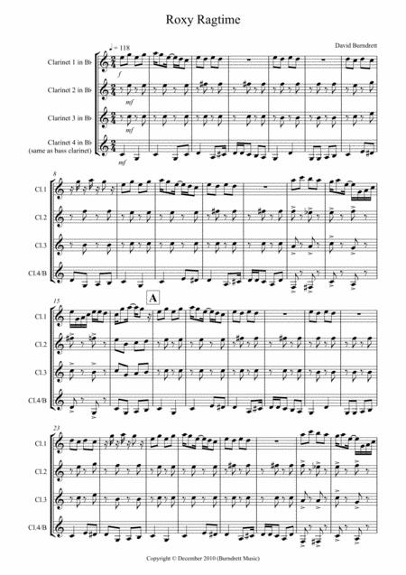 Roxy Ragtime for Clarinet Quartet