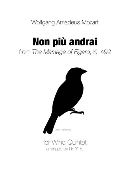 Non Più Andrai from The Marriage of Figaro (Mozart) for Wind Quintet