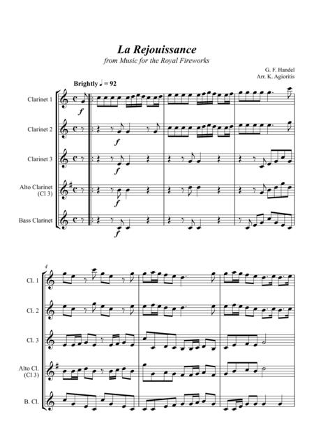 La Rejouissance (from Music for the Royal Fireworks) - Clarinet Quartet