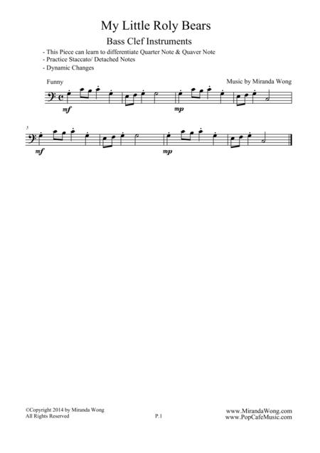 My Little Roly Bears - Easy Cello Solo in F Key