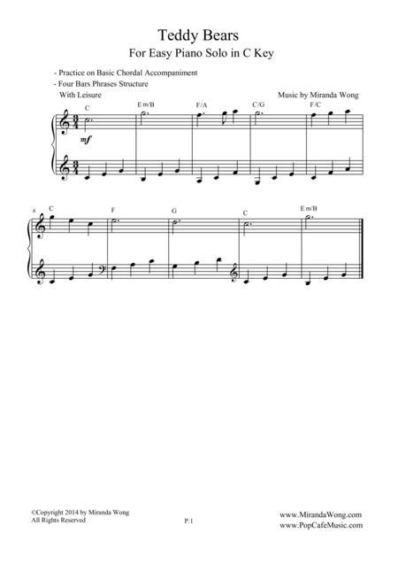 Teddy Bears - Easy Piano Solo in C Key