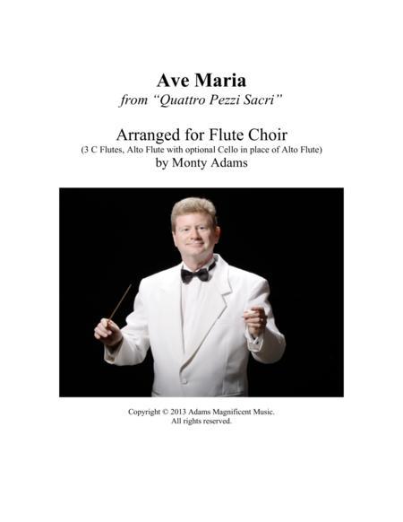 """Ave Maria from """"Quattro Pezzi Sacri"""" for Flute Choir"""