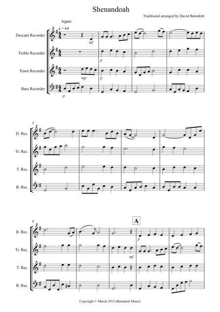 Shenandoah for Recorder Quartet