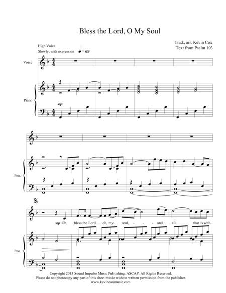 Download Bless The Lord O My Soul Sheet Music By Kevin Cox