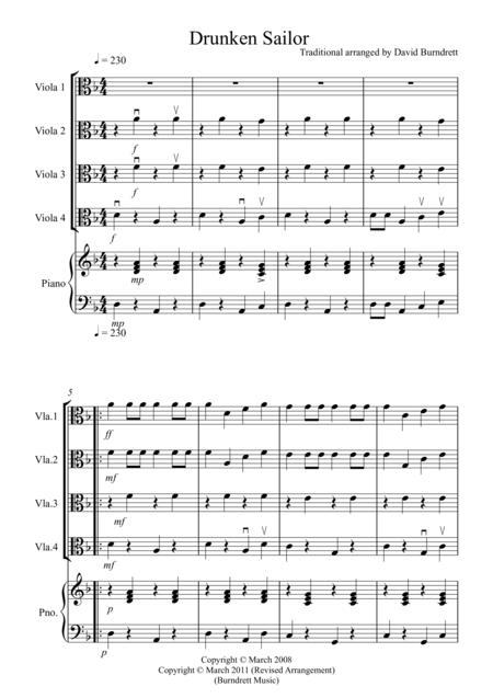 Drunken Sailor for Viola Quartet