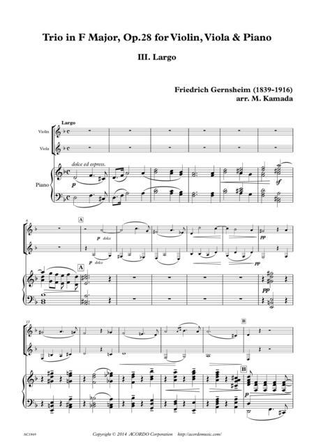 'Largo' from Trio Op.28 for Violin, Viola & Piano