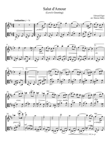 Salut d'Amour for violin and viola duet