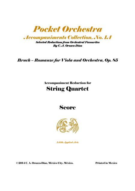 Bruch - Romanze for Viola and Orchestra, Op. 85 (Accompaniment Reduction for String Quartet, SCORE)
