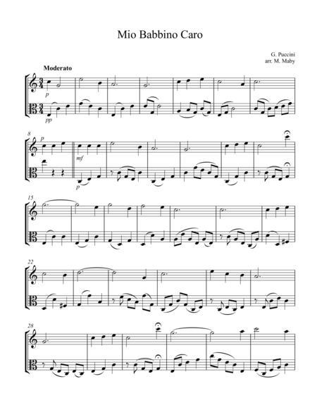 Mio Babbino Caro, violin & viola duet