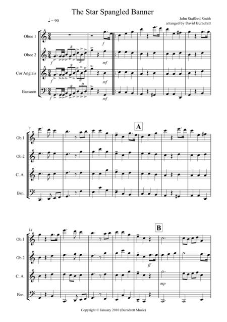 The Star Spangled Banner for Double Reed Quartet