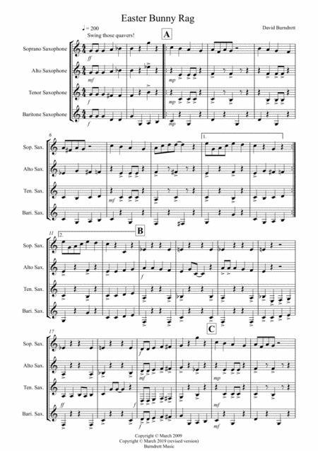 Easter Bunny Rag for Saxophone Quartet