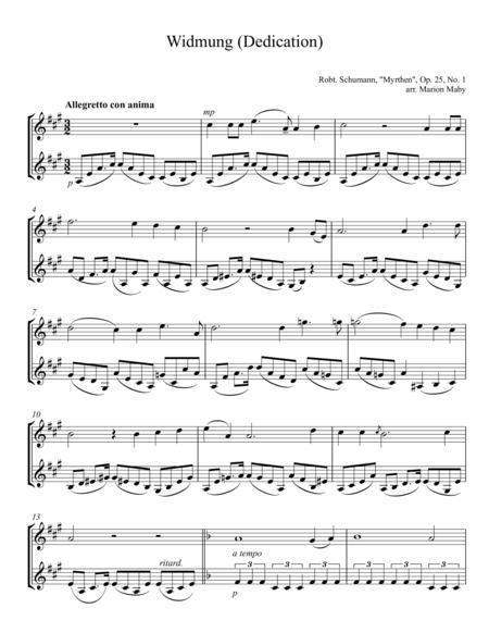 Widmung (Dedication) arr. for violin duet
