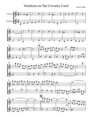 Coventry Carol Variations, for violin duet