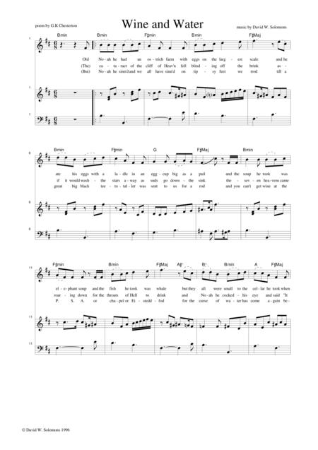 Preview Wine And Water Voice And Piano With Guitar Chord Names By