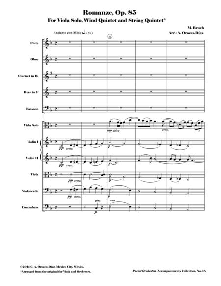 Bruch - Romanze for Viola and Orchestra, Op. 85 (Accompaniment Reduction for Wind Quintet & String Quintet, SCORE AND PARTS)