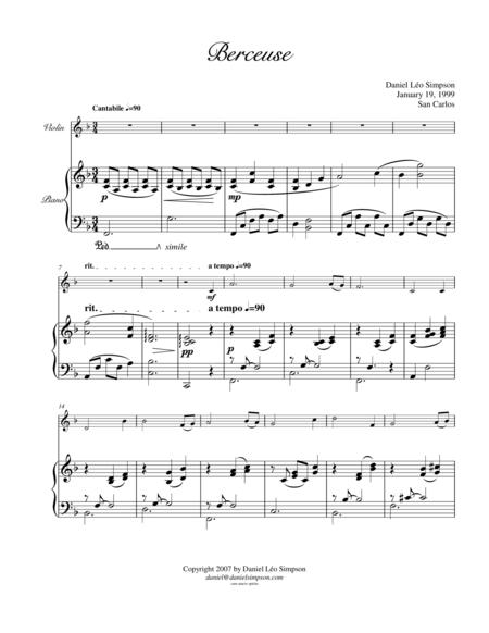 Berceuse for Violin & Piano