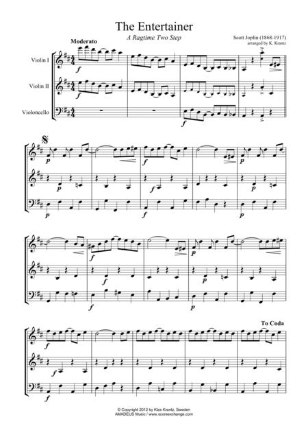 The Entertainer, Ragtime (easy, abridged) for string trio