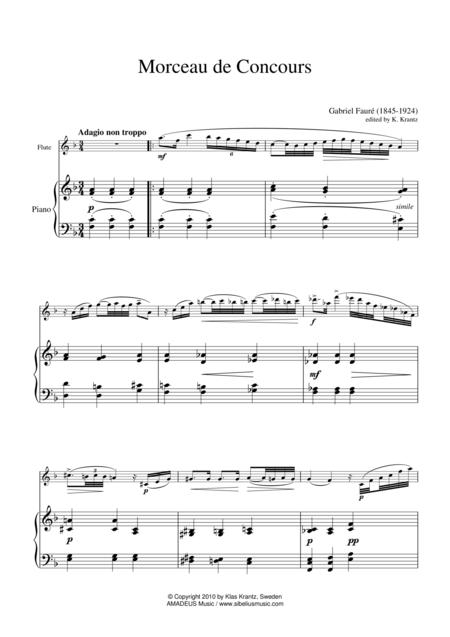 Morceau de Concours for flute or violin and piano
