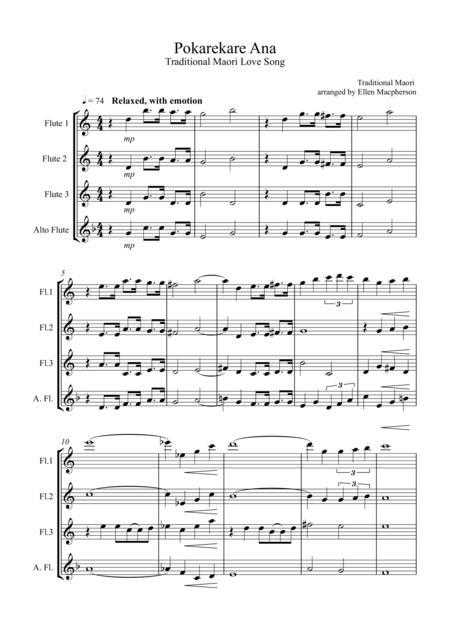 Pokarekare Ana for Flute Quartet (3 concert flutes & 1 alto flute)