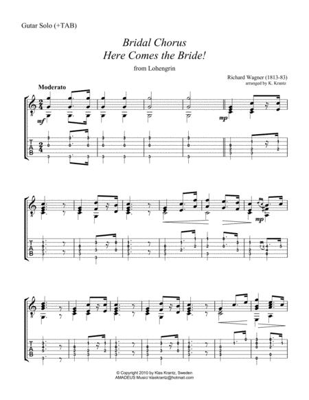 Download Bridal Chorus Here Comes The Bride For Easy Guitar Solo
