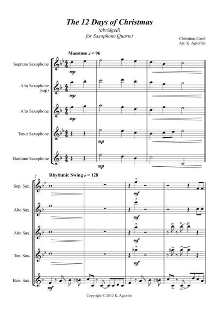 The 12 Days of Christmas - for Saxophone Quartet