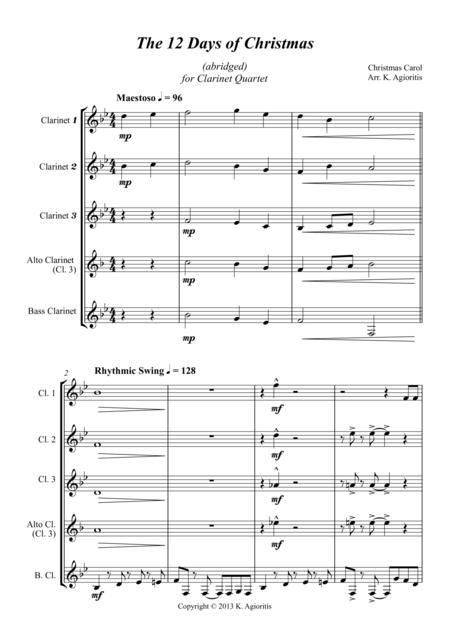 The 12 Days of Christmas - for Clarinet Quartet