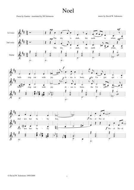 Gautier's Noel for two voices and guitar