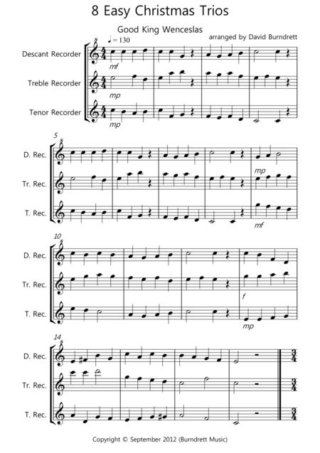 8 Easy Christmas Trios for Recorder