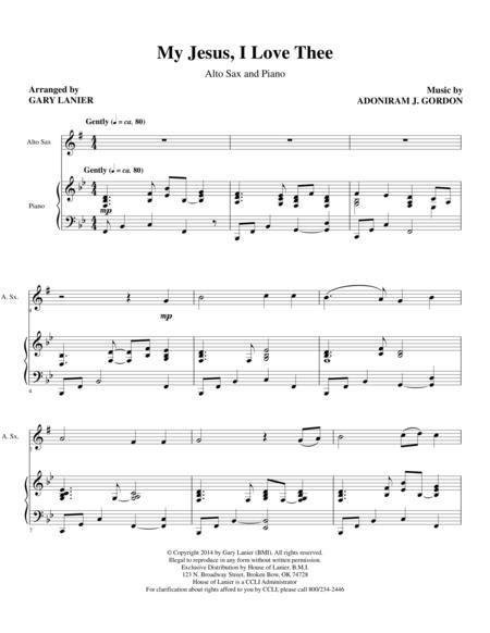 MY JESUS I LOVE THEE (Alto Sax/Piano and Sax Part)