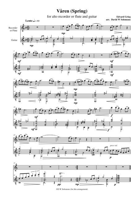 Våren (Spring) for flute (or alto recorder) and guitar