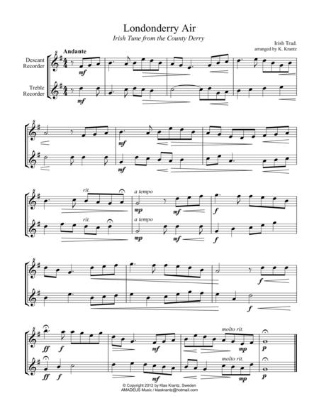 Londonderry Air for recorder duet (Descant, Treble)