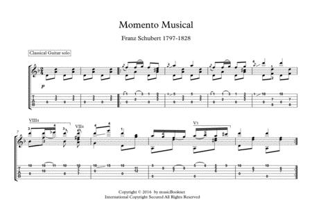Momento Musical by Franz Schubert for classical guitar solo